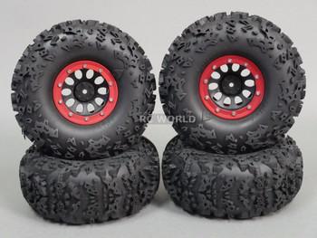 "Axial 2.2 Rock CRAWLER  Beadlock Wheels & TIres 140mm 5.5"" -Set Of 4- RED"