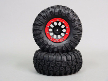 For Traxxas TRX-4 Rock CRAWLER Beadlock Wheels & TIres 130mm -Set Of 4- Red