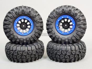 Traxxas TRX-4 Beadlock Wheels & TIres 130mm BLUE