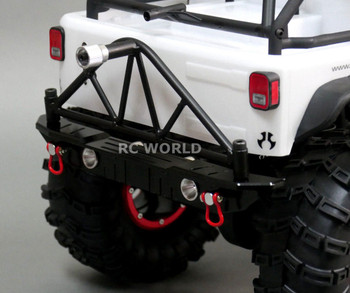 For Axial SCX10 RC Truck REAR METAL BUMPER W/ Tire CARRIER + LED Lights