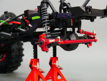 Axial SCX10 Jeep Honcho UpGraded Front ALL METAL KNUCKLES + STEERING  LINK - RED