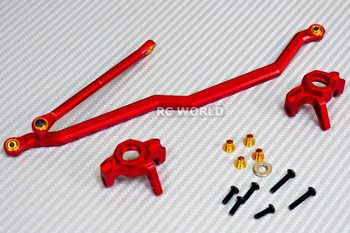 For Axial SMT10 Monster Truck ALL METAL FRONT KNUCKLES + STEERING LINKS - RED