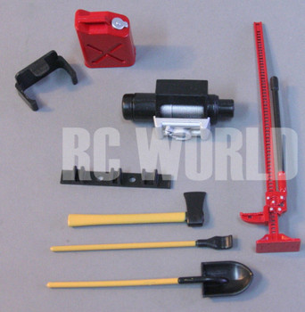 RC Scale TOOL ACCESSORIES Shovel-Axe- Winch-Fuel Container-Jack -For Roof Rack
