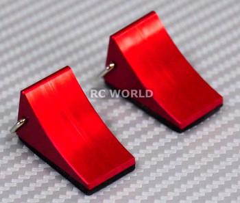 1/10 Garage Accessories Metal Wheel Chocks -RED-