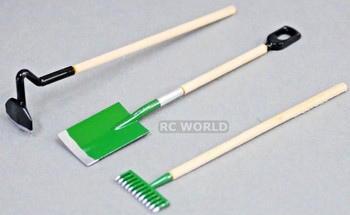 RC 1/10 Scale ACCESSORIES Tools -For Roof Rack- SHOVEL - RAKE - HOE Metal /Wood