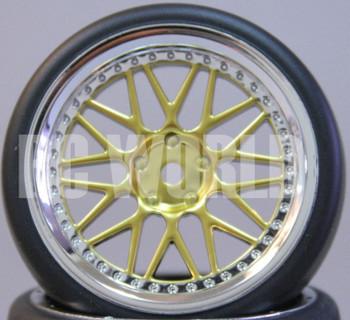 RC Car 1/10 DRIFT WHEELS TIRES Package 3MM Offset GOLD w / CHROME LIP *SET OF 4*