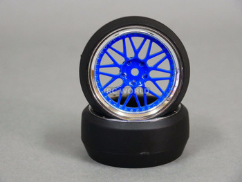 RC 1/10 DRIFT WHEELS Package 0 Degree 3 MM Offset 3 PIECE BLUE / CHROME Lip