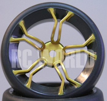 RC Car 1/10 DRIFT WHEELS TIRES Package 3 MM Offset GOLD 5 Star w/ Black LIP