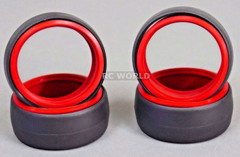 RC 1/10 DRIFT TIRE Package W/ COLOR RINGS - RED -