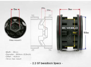 Gmade 1/10 TRUCK Rims Wheels 2.2 GT BEADLOCK Wheels + Monster 140 MM TIRES SET