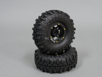 Axial 1/10 Scale Truck Rims 1.9 BEADLOCK Metal Aluminum BLACK w / SUPER SWAMPERS