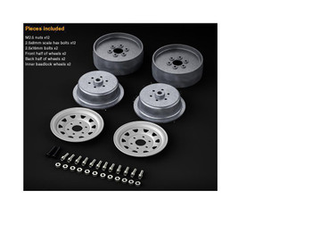 Gmade 1/10 SCALE TRUCK RIMS 1.9 STEEL STAMPED Beadlock Wheels SILVER w / TIRES