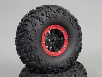 "Axial 2.2 Rock CRAWLER Beadlock Wheels & TIres 140 mm 5.5"" -Set Of 4- GREEN"
