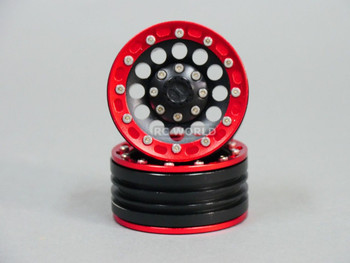 RC 1/10 Scale METAL Truck Rims Wheel 1.9 BEAD LOCK Rims w/ Metal Red Rings -PAIR