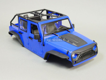 RC Scale Truck Body Shell 1/10 JEEP WRANGLER RUBICON Hard Body +  ROLL BARS