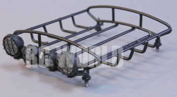 RC Scale Accessories METAL Black ROOF RACK W/ LED LIGHTS Light Bar CLEAR Lens