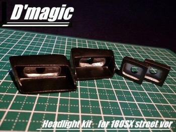 D'Magic 1/10 RC Car FRONT+ REAR LIGHT BUCKETS For NISSAN 180SX Body -Painted