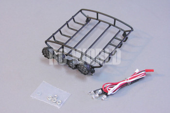 RC Scale Accessories METAL Black ROOF RACK W/ LED LIGHTS Light Bar YELLOW Lens