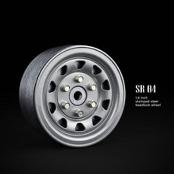 SR04 1.9inch beadlock wheels (Semigloss silver) (2