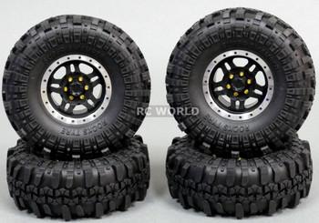 Axial 1/10 Scale Truck Rims 1.9 BEADLOCK Metal Aluminum BLACK w/ 108mm SWAMPERS