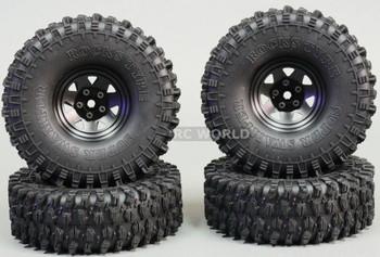 1/10 SCALE TRUCK RIMS 1.9 STEEL STAMPED Beadlock Wheels 120MM Rock Tires BLACK