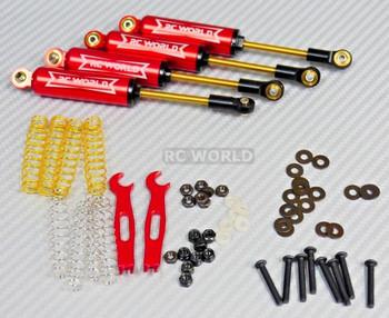 RC 1/10 TRUCK Suspension 110MM Internal SHOCK ABSORBER Aluminum RED -SET OF 4-