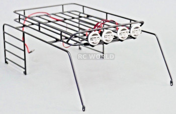 RC Scale JEEP Body METAL CAGE ROOF RACK For Wrangler Body W/ LED PODS HELLA