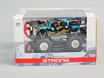RC 1/43 Radio Control RC Micro Monster Truck HUMMER w/ LED Lights Blue Camo