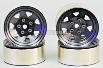 RC 1/10 Scale METAL STEEL STAMPED Truck Rims WheelS 1.9 (4 RIMS) BLACK