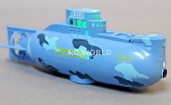 RC Micro SUBMARINE Mini Rc U-Boat 3- Channel Radio Control SUBMARINE -BLUE-