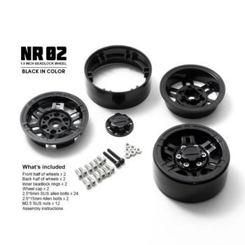 Gmade 1/10 SCALE TRUCK RIMS 1.9 Beadlock WHEELS NR02 -BLACK-(2PCS) #GM70264