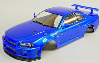 1/10 RC Car BODY Shell NISSAN SKYLINE R34 190mm *FINISHED* Metallic BLUE