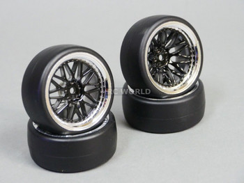 RC Car 1/10 DRIFT WHEELS Stagger 3MM +9MM Offset BLACK W/ CHROME Lip 3 Piece