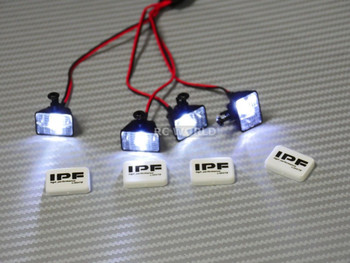 RC Scale Accessories LED LIGHT PODS Roof Lights IPF Square (4 pcs)