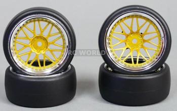 RC Car 1/10 DRIFT WHEELS Stagger 3MM +9mm Offset GOLD W/ CHROME Lip 3 Piece