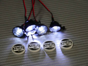 RC Scale Accessories LED LIGHT PODS Roof Lights HELLA Round (4 pcs)