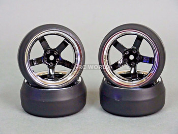 RC 1/10 DRIFT WHEELS Package 0 Degree 6MM Offset 5 Spoke BLACK W/ CHROME LIP