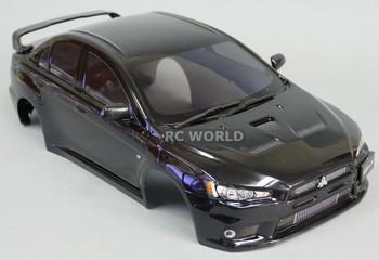 1/10 RC Car BODY Shell MITSUBISHI EVOLUTION Lancer Evo X 190mm *FINISHED* BLACK