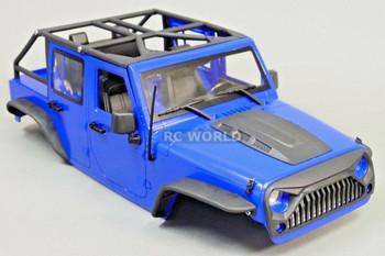 RC Scale Truck Body Shell 1/10 JEEP WRANGLER RUBICON Hard Body V2 w/ ROLL BARS