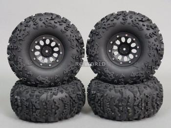 "Axial 2.2 Rock CRAWLER Beadlock Wheels & TIres 140mm 5.5"" -Set Of 4- BLack"