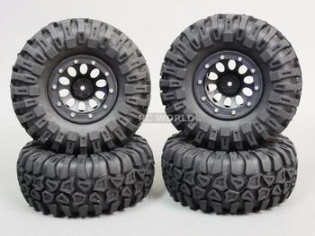 For Traxxas TRX-4 Rock CRAWLER Beadlock Wheels & TIres 130mm -Set Of 4- Black