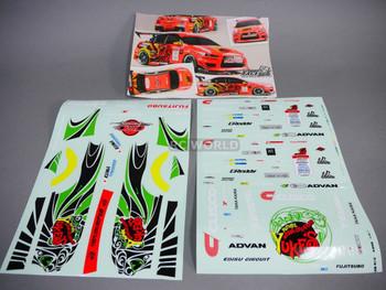 1/10 RC Car DECALS Mitsubishi Evolution YUKES TIGER V2 Decals Stickers 13x9