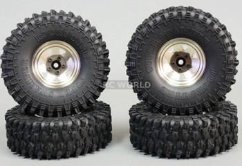 1/10 SCALE TRUCK RIMS 1.9 STEEL STAMPED Beadlock Wheels 120MM Rock Tires SILVER