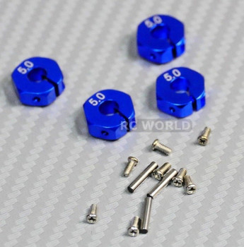 1/10 Anodized Aluminum 5MM WHEEL Spacer 12MM HUB -4 pcs- Blue