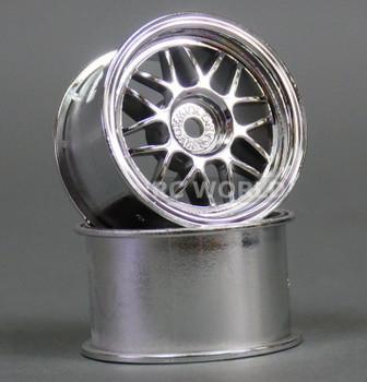 Kawada 1/12 Car Wheels MESH WIDE - CHROME -(2PCS) #TUM26C