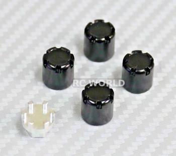 Center Lock Nut METAL WHEEL CAPS Lug Nuts (4PCS) Black