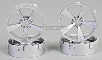 Tetsujin Mandarin RC Car 1/10 Wheels SILVER Adjustable Offset 3-6-9mm -4 RIMS