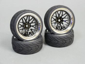 RC 1/10 Street WHEELS Tires STAGGER 6MM + 9MM Offset BLACK / Chrome (4pcs)