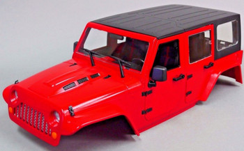 RC Scale Truck Body Shell 1/10 JEEP WRANGLER RUBICON Hard Body + METAL ROOF CAGE