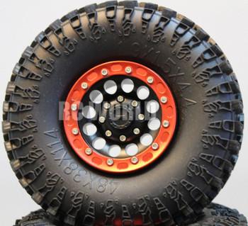 For Axial SCX10 Jeep Honcho Scorpion Rockcrawler BEADLOCK Metal WHEELS Swampers